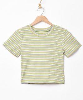 古着【3色展開】「Elcamino」マルチボーダー 半袖カットソー グリーン 古着のネット通販 古着屋グレープフルーツムーン