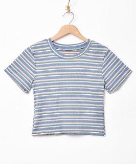 古着【3色展開】「Elcamino」マルチボーダー 半袖カットソー ブルー 古着のネット通販 古着屋グレープフルーツムーン