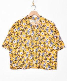 古着【2色展開】「Elcamino」チャイナボタン 半袖花柄シャツ イエロー 古着のネット通販 古着屋グレープフルーツムーン