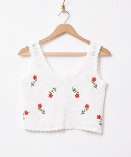 古着【2色展開】「Elcamino」フラワー刺繍 クロシェトップス ホワイト 古着のネット通販 古着屋グレープフルーツムーン