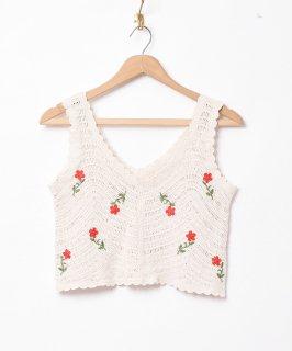 古着【2色展開】「Elcamino」フラワー刺繍 クロシェトップス ベージュ 古着のネット通販 古着屋グレープフルーツムーン