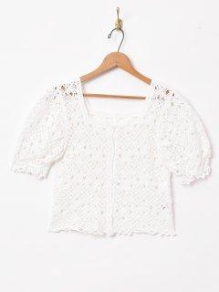 古着【2色展開】「Elcamino」クロシェカーディガン ホワイト 古着のネット通販 古着屋グレープフルーツムーン