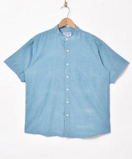 古着【4色展開】「TEMPTATION」ピーチスキンスタンドカラー 半袖シャツ ブルー 古着のネット通販 古着屋グレープフルーツムーン