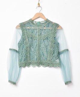 古着「Meridian」レーストップス チュールスリーブ 古着のネット通販 古着屋グレープフルーツムーン