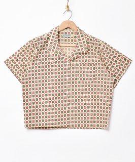 古着「Emerald Motel」小紋柄 半袖オープンカラーシャツ 古着のネット通販 古着屋グレープフルーツムーン