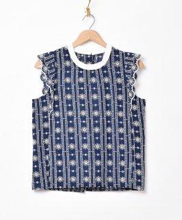古着【2色展開】「Meridian」刺繍 ノースリーブフリルトップス ネイビー 古着のネット通販 古着屋グレープフルーツムーン