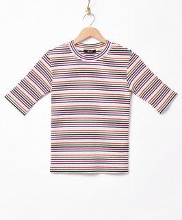古着【3色展開】「Meridian」マルチボーダー 5分袖Tシャツ ベージュ 古着のネット通販 古着屋グレープフルーツムーン