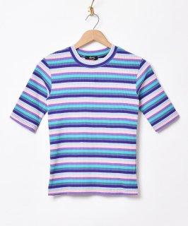 古着【3色展開】「Meridian」マルチボーダー 5分袖Tシャツパープル 古着のネット通販 古着屋グレープフルーツムーン