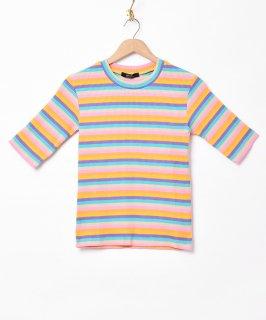 古着【3色展開】「Meridian」マルチボーダー 5分袖Tシャツ オレンジ 古着のネット通販 古着屋グレープフルーツムーン