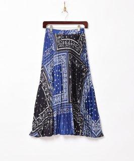 古着【2色展開】「Meridian」バンダナ柄 プリーツスカート ネイビー 古着のネット通販 古着屋グレープフルーツムーン