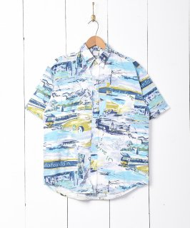 古着車プリント 総柄半袖シャツ 古着のネット通販 古着屋グレープフルーツムーン