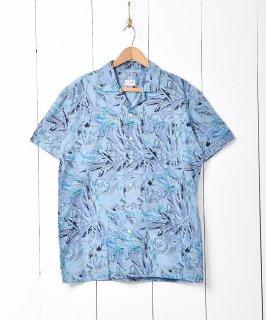 古着総柄半袖オープンカラーシャツ ブルー 古着のネット通販 古着屋グレープフルーツムーン