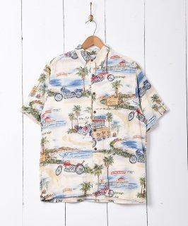 古着バイクプリント 総柄シャツ 古着のネット通販 古着屋グレープフルーツムーン