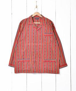 古着ストライプ×ダイヤ柄 パジャマシャツ 古着のネット通販 古着屋グレープフルーツムーン