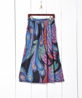 古着アメリカ製 フェザーパターン ロングスカート 古着のネット通販 古着屋グレープフルーツムーン
