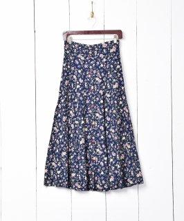 古着アメリカ製 小花×ピンドット柄 フレアスカート 古着のネット通販 古着屋グレープフルーツムーン