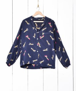 古着イタリア製 総柄 オープンカラー 長袖シャツ 古着のネット通販 古着屋グレープフルーツムーン