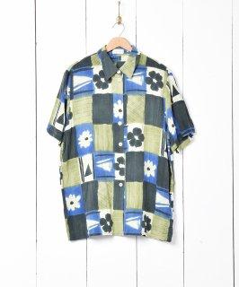 古着くすみカラー花柄半袖シェルボタンシャツ 古着のネット通販 古着屋グレープフルーツムーン