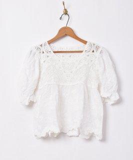 古着「Elcamino」クロシェ 刺繍 半袖ブラウス 古着のネット通販 古着屋グレープフルーツムーン