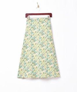 古着【2色展開】「Meridian」フラワーパターン フレアスカート グリーン 古着のネット通販 古着屋グレープフルーツムーン