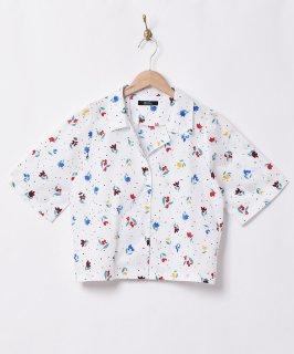 古着【2色展開】「Meridian」ドット×チューリップ 総柄 オープンカラー 半袖シャツ ホワイト 古着のネット通販 古着屋グレープフルーツムーン