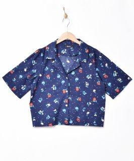 古着【2色展開】「Meridian」ドット×チューリップ 総柄 オープンカラー 半袖シャツ ネイビー 古着のネット通販 古着屋グレープフルーツムーン