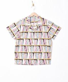 古着「Emerald Motel」ブック 総柄 オープンカラー 半袖シャツ 古着のネット通販 古着屋グレープフルーツムーン