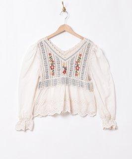 古着「Elcamino」刺繍 クロシェ切替チュニック 古着のネット通販 古着屋グレープフルーツムーン