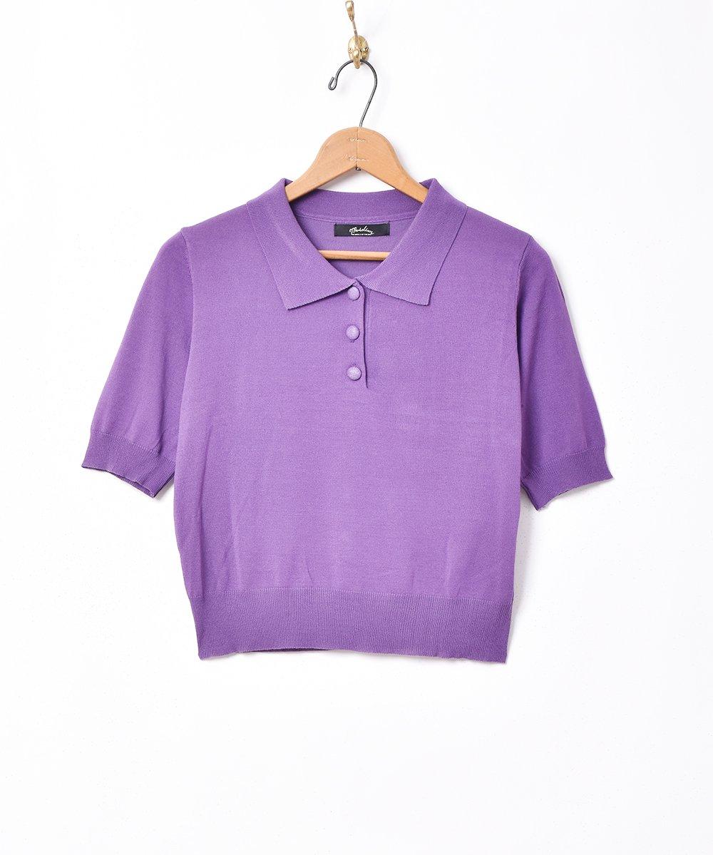 古着 【4色展開】「Meridian」半袖ニットポロシャツ パープル 古着 ネット 通販 古着屋グレープフルーツムーン
