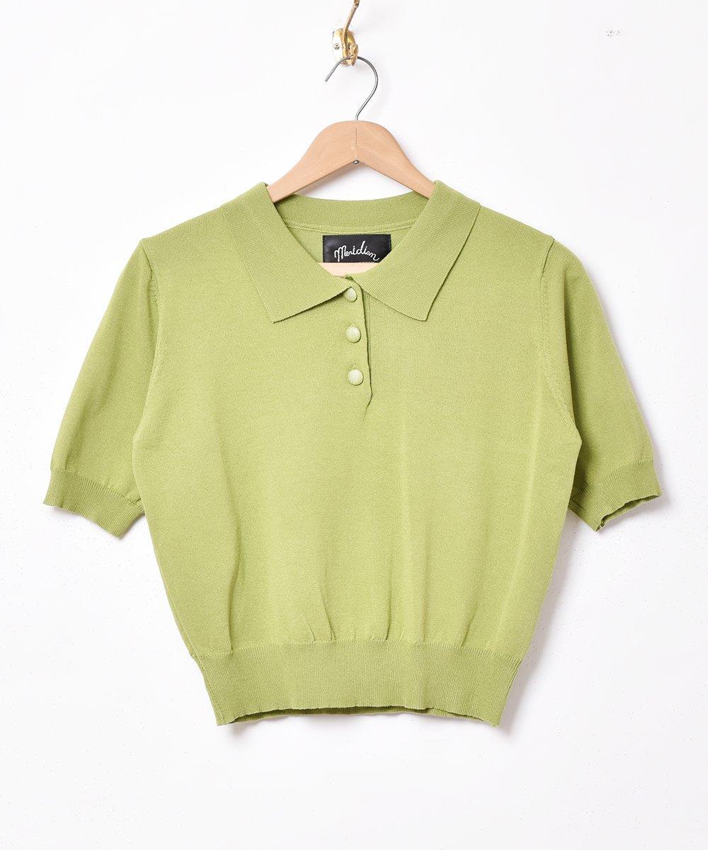【4色展開】「Meridian」半袖ニットポロシャツ パープルサムネイル