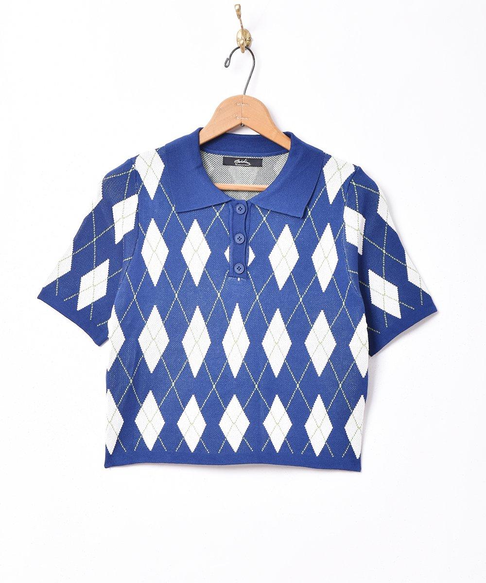 古着 【2色展開】「Meridian」アーガイル柄 半袖ニットポロシャツ ネイビー 古着 ネット 通販 古着屋グレープフルーツムーン
