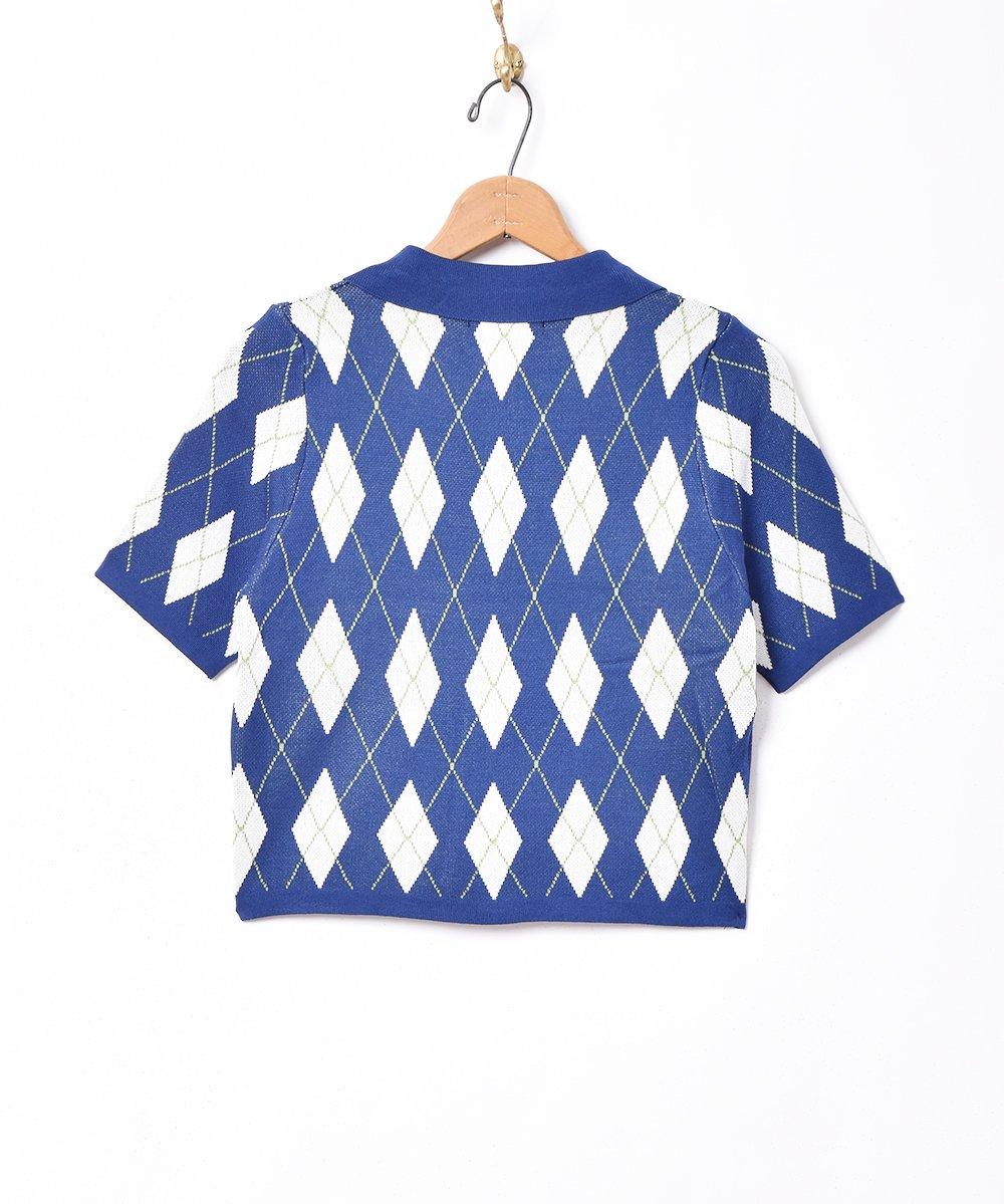 【2色展開】「Meridian」アーガイル柄 半袖ニットポロシャツ ネイビーサムネイル