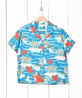 古着ハワイアンシャツ ターコイズブルー 古着のネット通販 古着屋グレープフルーツムーン