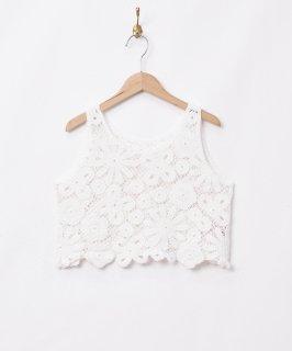 古着【2色展開】「Elcamino」フラワークロシェ ノースリーブトップス ホワイト 古着のネット通販 古着屋グレープフルーツムーン