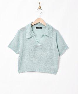 古着【2色展開】「Meridian」オープンカラー 半袖ニットトップス サックスブルー 古着のネット通販 古着屋グレープフルーツムーン