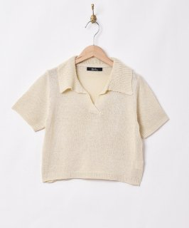 古着【2色展開】「Meridian」オープンカラー 半袖ニットトップス アイボリー 古着のネット通販 古着屋グレープフルーツムーン