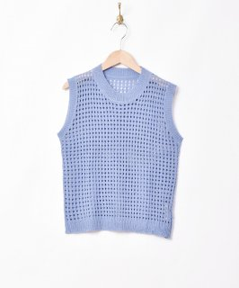 古着【2色展開】「Elcamino」メッシュニットベスト ブルー 古着のネット通販 古着屋グレープフルーツムーン
