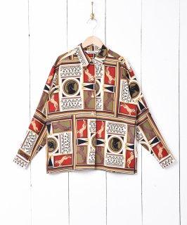 古着総柄 オープンカラー 長袖シャツ 古着のネット通販 古着屋グレープフルーツムーン