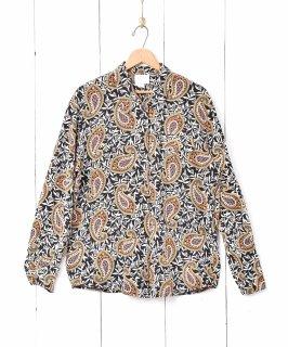 古着花×ペイズリー柄 長袖 シルクシャツ 古着のネット通販 古着屋グレープフルーツムーン