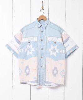 古着デニム切替 総柄 半袖シャツ 古着のネット通販 古着屋グレープフルーツムーン