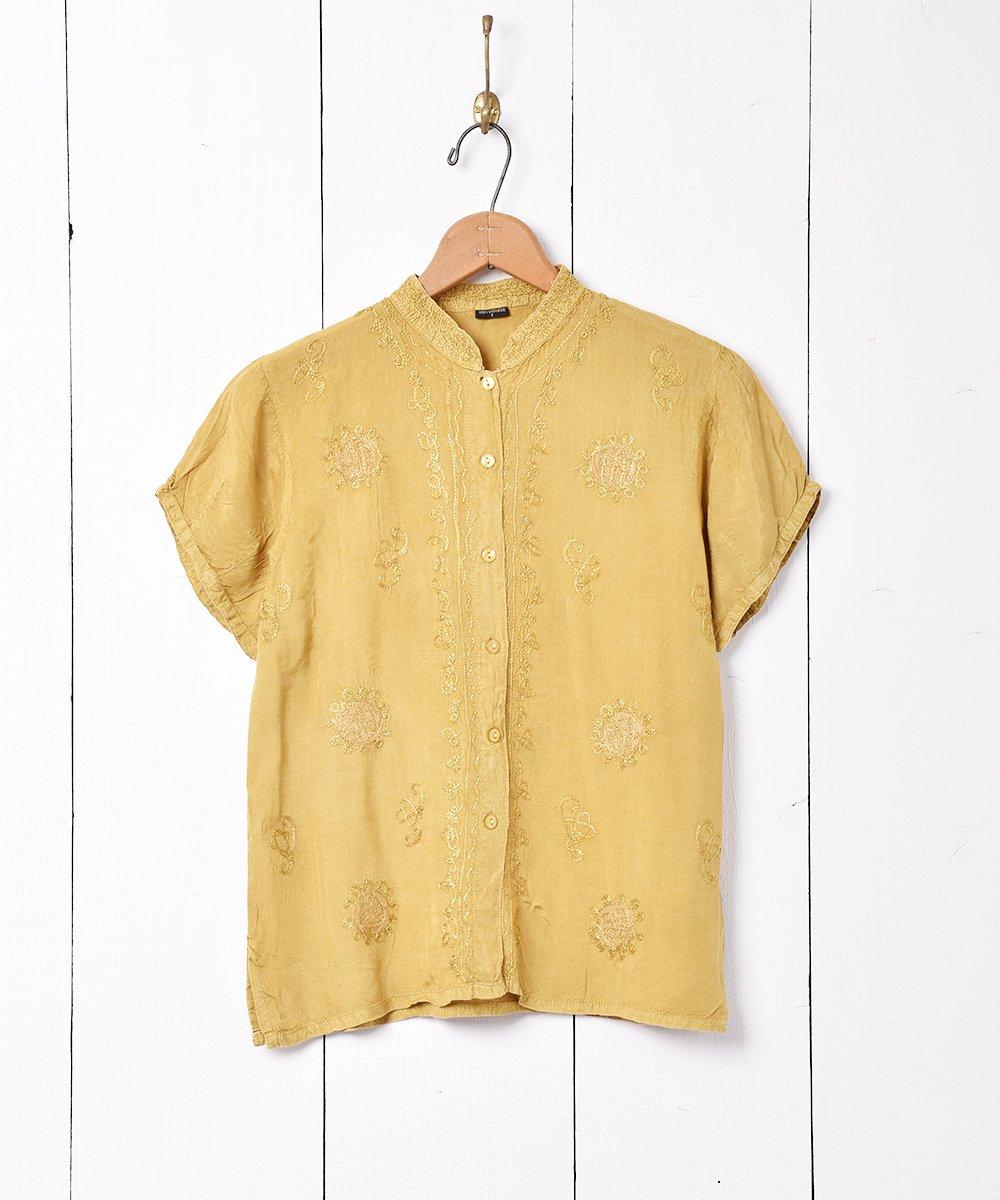 古着 インド製 レーヨン刺繍トップス 古着 ネット 通販 古着屋グレープフルーツムーン