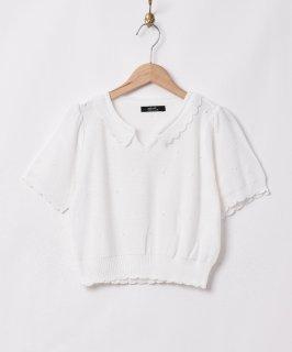 古着【2色展開】「Meridian」フリルカラ— 半袖 ニットトップス ホワイト 古着のネット通販 古着屋グレープフルーツムーン