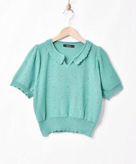古着【2色展開】「Meridian」フリルカラ— 半袖 ニットトップス グリーン 古着のネット通販 古着屋グレープフルーツムーン