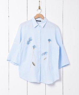 古着花刺繍 七分袖リネンシャツ 古着のネット通販 古着屋グレープフルーツムーン