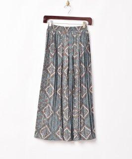古着【2色展開】「Meridian」フラワーパターン プリーツスカート グリーン 古着のネット通販 古着屋グレープフルーツムーン
