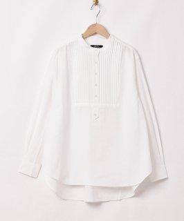 古着【2色展開】「Meridian」ノーカラー ピンタック 長袖シャツ ホワイト 古着のネット通販 古着屋グレープフルーツムーン