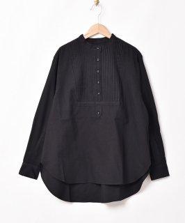 古着【2色展開】「Meridian」ノーカラー ピンタック 長袖シャツ ブラック 古着のネット通販 古着屋グレープフルーツムーン
