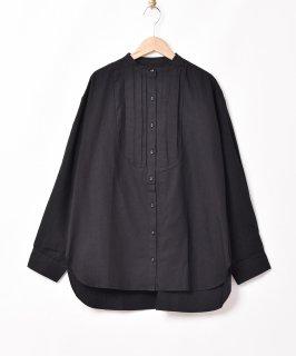 古着【2色展開】「Meridian」ノーカラー フロントデザイン 長袖シャツ ブラック 古着のネット通販 古着屋グレープフルーツムーン