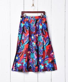 古着総柄 サイドスリット フロントボタンスカート 古着のネット通販 古着屋グレープフルーツムーン