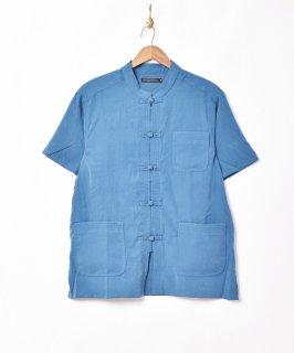 古着【3色展開】「TEMPTATION」ピーチスキン 半袖 チャイナシャツ ブルー 古着のネット通販 古着屋グレープフルーツムーン